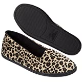 Dearfoams Women's Rebecca Microfiber Velour Closed Back Slipper,Leopard,XL