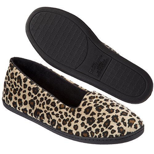 Dearfoams Women's Rebecca Microfiber Velour Closed Back Slipper,Leopard,XL