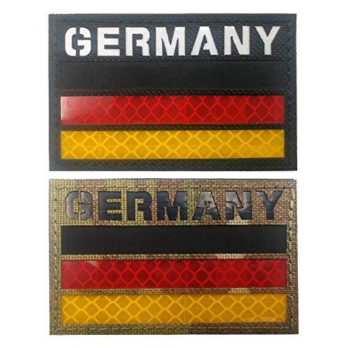 Deutschland Reflektierende IR-Flagge Patch Militärische Taktik Moral Patch Europa Abzeichen Emblem Applique Patches Aufbügeln auf Kleidung Rucksack Zubehör mit Hook und Loop Black Camo