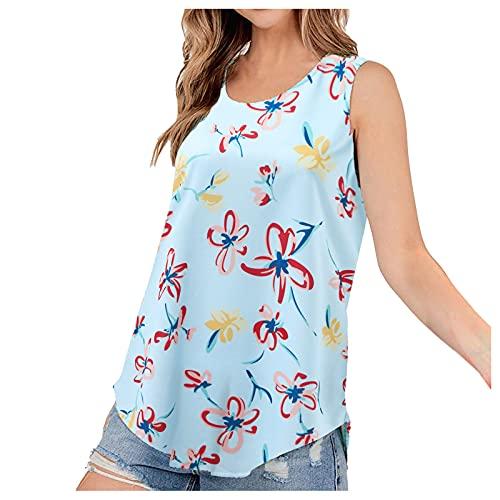 Nueva mujer verano casual diario cuello redondo sin mangas sólido rayas impreso plisado chaleco suelto Tops camisa túnica blusa