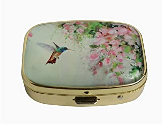 Hiutong Lovely Hummingbird and Pink Flowers Custom Square Gold Glass Pill Case Decoration Metal Medicine Vitamin Tissue Unique Gift
