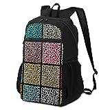 Best& Set de bolsas de leopardo sin costuras, bolsa ligera a la escuela, para alumnos primarios, 16 pulgadas, adolescente, mochila lavable a diario