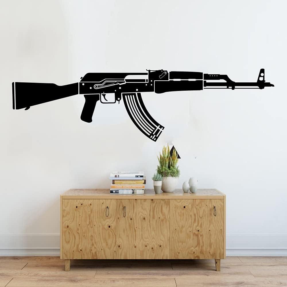Gran AK47 pistola ejército soldado pared pegatina Ak47 Rifle Clip abeto flor sala de juegos vinilo decorativo pared pegatina A7 56x17cm