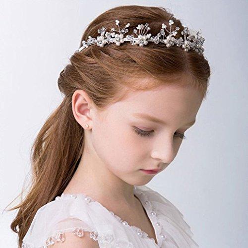 Samidy 1pièce Dentelle Fleur Coiffe de perles Filles Accessoires Cheveux Cérémonie fête mariage Serre-tête (13 x 3 cm)