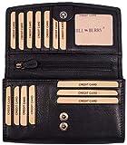 Hill Burry hochwertige Leder Geldbörse | echtes Vintage Leder - XXL Langes Portemonnaie - Kreditkartenetui | Damen - Herren Geldbeutel (Schwarz)