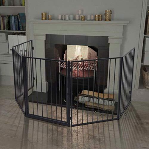 Tidyard Kaminschutzgitter für Tiere Stahl schwarz Heavy Fire Guard with Oven Protection Gate Pet Safety Gate Safety Gate Black