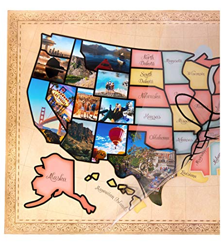 US Photo Map – 24 x 36 inch United States Travel Memory Map – Personalize with Photos of the States I've Been To