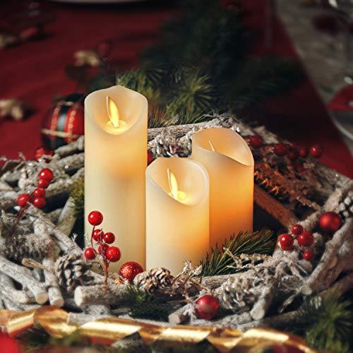 CCLIFE LED Kerzen 3er 5er Set mit Fernbedienung Timer Funktion 300 Stunden flackernde Paraffin Echtwachs Kunststoff Kerze flammenlose Batteriebetrieb, Farbe:3er LED Kerzen aus Echtwachs