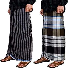 Riyashree men's cotton lungi for men free size 2 meter Combo (set of 2) MenLungi 010 017