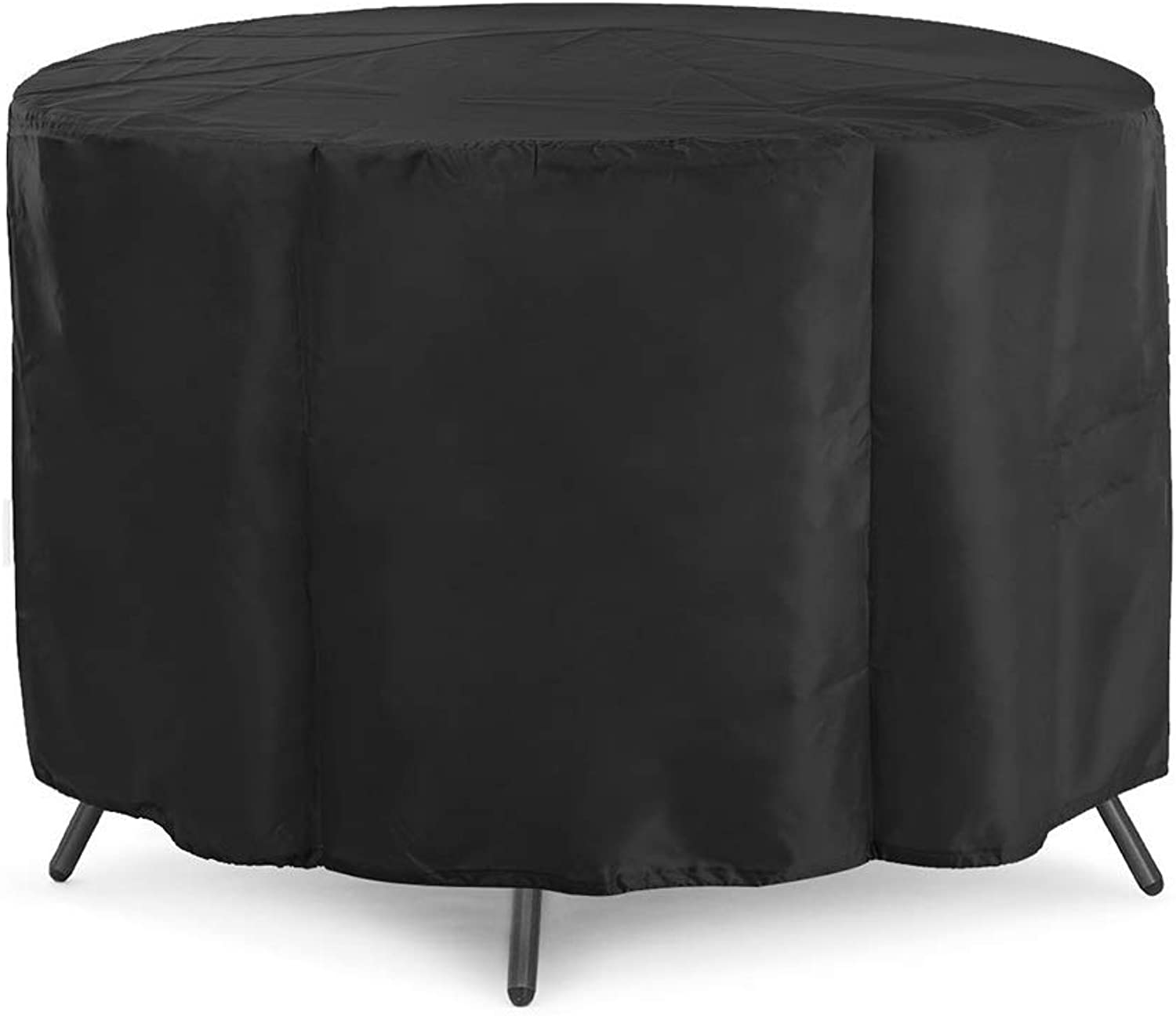 Patio Round Waterproof Furniture Cover, 210D Oxford Cloth Dustproof Table and Chair Cover, Black (Size   185x110cm)