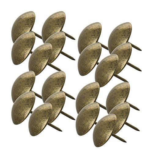 MroMax - Clavos para tapicería (25 mm, diámetro de la cabeza, 25 mm, largo, redondos, para muebles y cabeceros, tono bronce, 100 unidades)