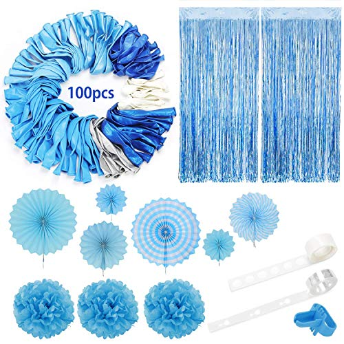 Blue Balloons Arch Garland Party Decorations Kit 114 Pack, Boy Baby Shower Balloons Set,Blue Silver White Balloons + Foil Fringe Curtain + Paper Tissue Flower Pom Poms + Tissue Paper Fans for Birthday