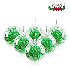 🎅【 CLEAR FILLABLE BAUBLES 】20pcs beautiful transparent plasti craft ornament balls are great for kid to decorate and put a little gift in. Printing any color and pattern inside what you want. Made of high quality materials, harmless and safe. 🎅【 EASY...