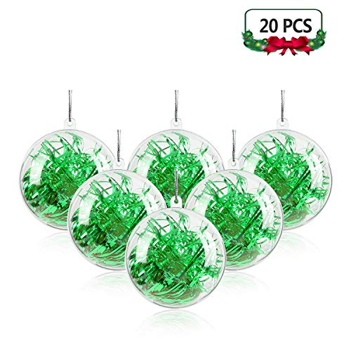 Mbuynow 20 Pack 100mm Clear Ornaments Balls, DIY Plastic Fillable Christmas Decorations Tree Balls Baubles Craft Transparent Ball Gifts for Wedding Party Decor