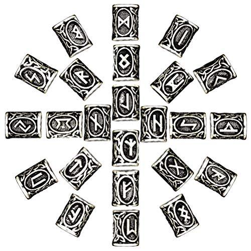 McRee 24pcs nórdico Viking runas pelo barba cuentas envejecido puls
