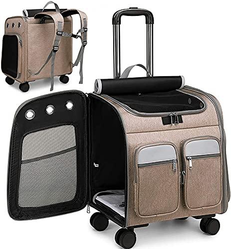 Camu Zaino con ruote per trasportino, per animali domestici passeggino, per animali domestici trasportino da viaggio per cuccioli seggiolino auto per cani e gatti Zaino comfort (Marrone)