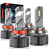9005/HB3 H11/H8/H9 LED Headlight Bulbs, LAWTOOLIGHT High Low Beam Headlight Combo, 80W 22000LM 300% Brighter LED Headlight Conversion Kit, 6500K Cool White, Halogen Replacement 4-Pack