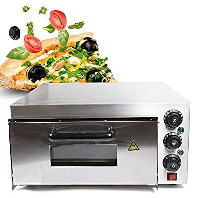 2000W 1Layer Silver Pizza Oven Double Layer Electric Pizza Oven Machine Stainless Steel Pizza Baking Oven Commercial Cake Bread Pizza Oven for Families, Chinese Tea Restaurants, Western Restaurants (Single Layer)