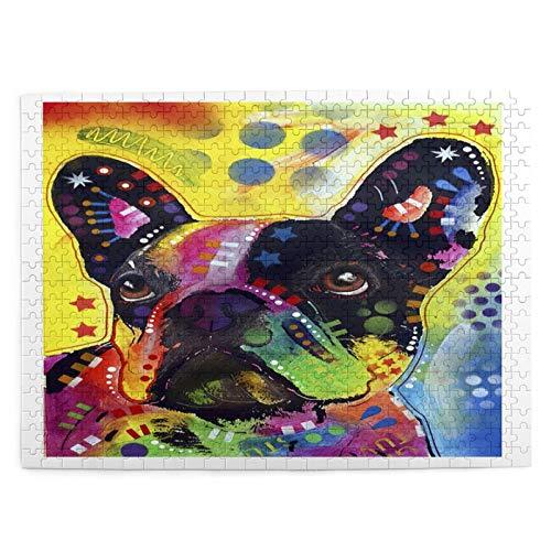 Jigsaw Puzzles 500 Pieces,French Bulldog Dog Pet Portrait Artist Acrylic Dogs Graffiti Oil Portrait Animal,Large Puzzle Game Artwork For Adults Teens Kids