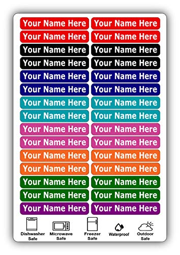 30 Long Personalized Waterproof Name Labels. Press and Stick Multi use Custom Name Labels. Customized Your Text and Color. ID Identification Name Stickers with Permanent Self Adhesive.