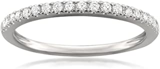 14k White Gold Round Diamond Micro-Pave Wedding Band (1/4cttw, H-I Color, VS2-SI1 Clarity), Size 5