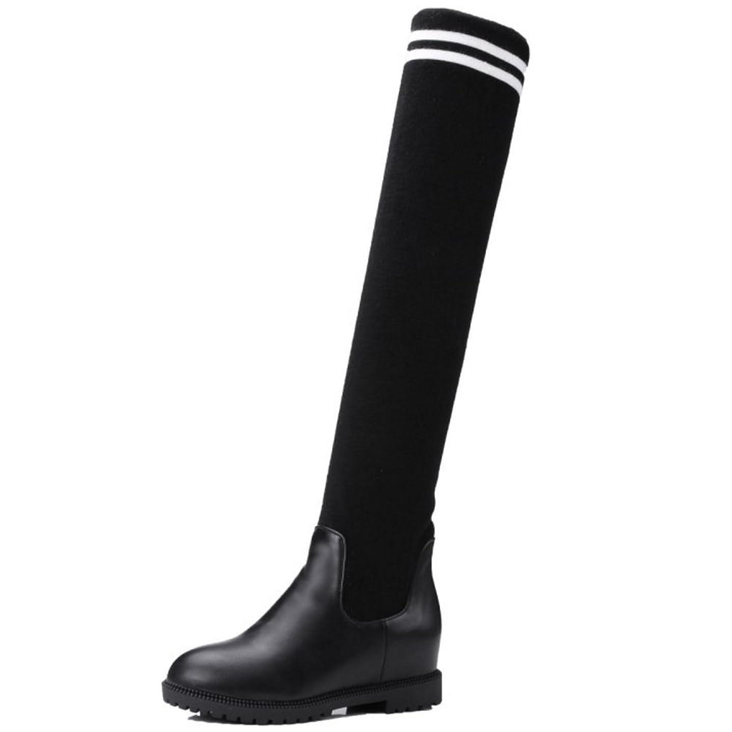 エクスタシー二週間可決KemeKiss レディース ファッション ニット ブーツ シークレット ストレッチ ロングブーツ