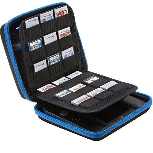 BRENDO Nintendo 2DS Carry-all Hard Case with 24 Game Holders (Money Back Guarantee) - Black/Blue
