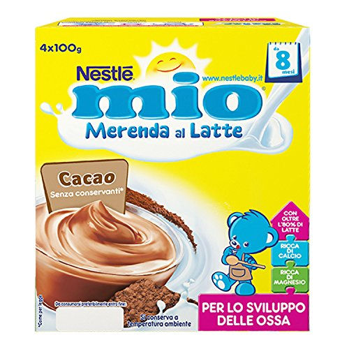Nestle Mio Merenda al Latte Cacao, senza Glutine, da 6 Mesi, 4 Pezzi X 100g