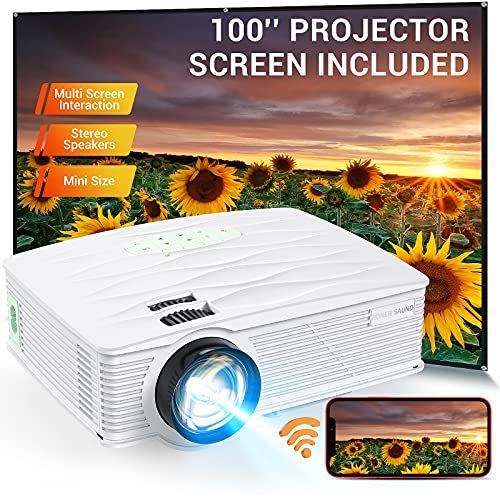 """Projector, PONER SAUND WiFi Mini Projector 1080P Supported with 100"""" Projector Screen, 5500 Lux 210' Display Movie Projector, Compatible with Phone, Computer, Laptop, USB, HDMI, VGA"""