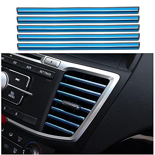 10Piezas Molduras de interiores de coche de decoración, tiras de molduras Línea decorativa accesorios de interiores de coche Tira de rejilla de ventilación de aire