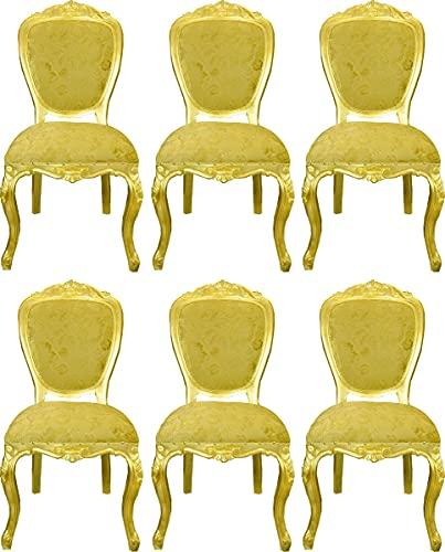 Casa Padrino Pompöös by sillas de Comedor barrocos de Lujo patrón de Ramo Oro/Oro - Sillas barrocas Pompöös diseñadas por Harald Glööckler - 6 Sillas de Comedor - Muebles de Comedor barrocos