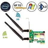 Ubit 1167Mbps+Bluetooth 4.0 Scheda di Rete, 802.11 AC con Scheda di Rete Wireless PCIE WiFi Gigabit Adattatore per PC (WIE7265)