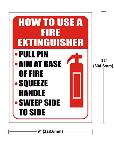 eSplanade How to use Fire Extinguisher Sign Sticker Decal - Easy to Mount Weather Resistant Long Lasting Ink (Size 12
