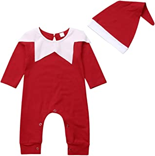 Newborn Baby's Xmas Long Sleeve Romper+Hat Chrismas Santa Claus Dressed Set Onesies Jumpsuit 2pcs