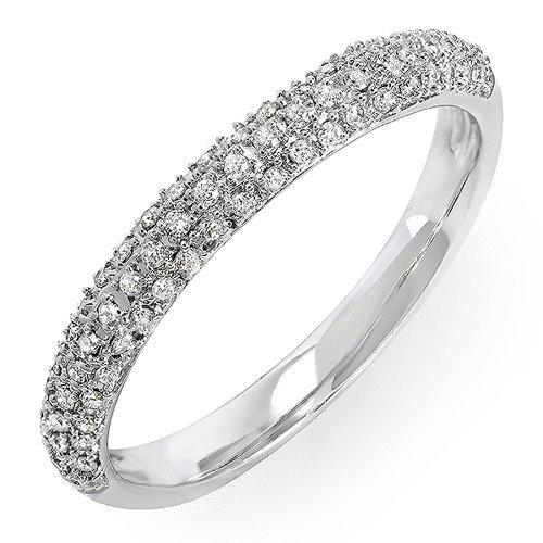 Dazzlingrock Collection - Fede nuziale da donna con diamanti bianchi da 0,25 carati (cttw), in oro 10 K e Oro bianco, 19,5, cod. K1438-9