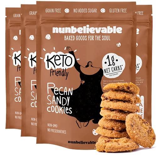 Nunbelievable Low Carb Cookies Pecan Sandy, Low Carb Snack, Healthy Cookies, Sugar Free 3.4oz Diabetic & Keto Friendly - Gluten Free, Grain Free, Non GMO, No Artificial Flavors (4 Count)
