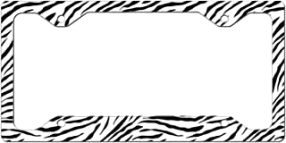 Custom License Plate Frame White Black Zebra Print Seamless Pattern Aluminum Cute Car Accessories Narrow Top Design Only One Frame