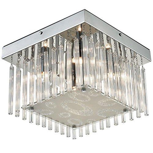 Design LED Chrom Decken Beleuchtung Leuchte Lampe Hänge Glas Kristalle Luster Lüster klar ESTO 749198-4