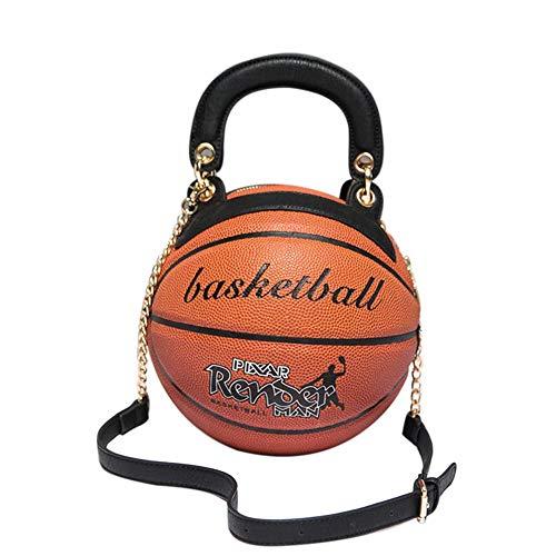 NA FEILEC Basketball-Handtasche, Basketball-Form, Umhängetasche, weiches Leder, PU-Leder, modisches Design, Handtasche und Schultertasche, verstellbarer Riemen, 17,8 cm, Rot L braun