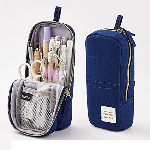 HNTKSM Funda de lápiz de Bolsas de Pluma, Raya de Menta Puertas Rosas Simples Pense de Lona Bolsa de Almacenamiento de bolígrafos para la Escuela de papelería (Color : Pure Blue)