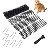 Fuuner 12 alfombrillas de gato con puntas, anti gato para interiores y exteriores, para jardín, valla con grapas de jardín y corbata de torcedura