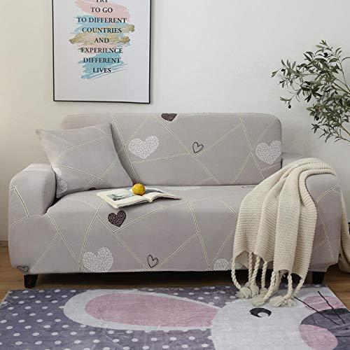 Soffskydd hög stretch 1 2 3 4-sits soffa överdrag ljusgrå, vit kärlek hjärta polyester spandex anti-glid skrynkelbeständig soffskydd för soffa möbelskydd 1 sits: 90–140 cm