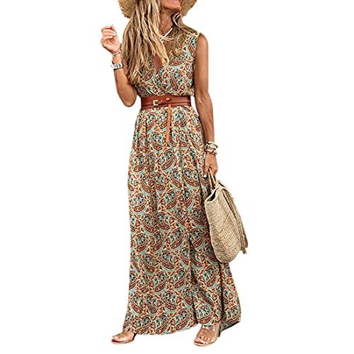 Tabimono Longue Robe Fleurie à col en V de Style bohème Femme Manche Courte Maxi Robe Robe d'été élégante et décontractée Slim Robe de Plage