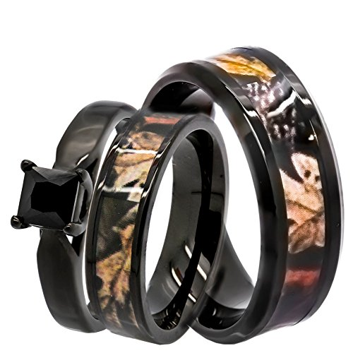 Kingsway Jewelry His & Hers 1.25 ct Natural Genuine Black Spinel Camo 3 pcs Surgical Stainless Steel Engagement Wedding Rings Set