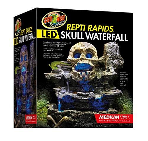 Zoo Med Repti Rapids LED Skull Waterfall Natural Rock Reptiles Terrariums Medium