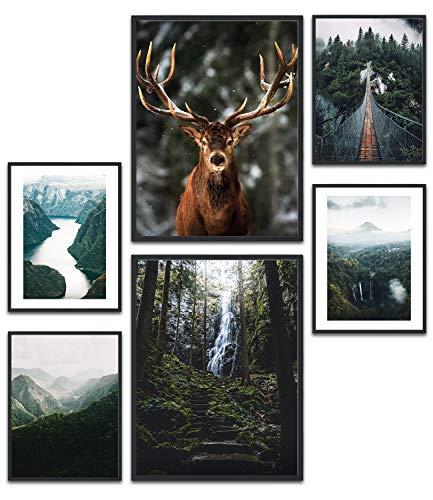 MUUDLY Premium Poster Set, Moderne Wandbilder für Wohnzimmer und Schlafzimmer, 2 x A3 & 4 x A4, Bilder als Wanddeko (Natur Grün, ohne Rahmen)
