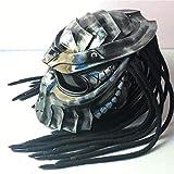 Casco de depredador hecho a mano con máscara, casco integral de motocicleta, casco de locomotora de personalidad Guerrero de hierro con trenza de pelo + luz roja DOT / FMVSS-218 Normas de seguridad,M
