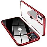 TORRAS iPhone 11用ケース 超薄型 超軽量 ソフトTPU 背面クリア+メッキ加工「X-SHOCK」耐衝撃 SGS認証 レンズ保護 黄変防止 アイフォン 11用カバー(レッド)「Shiny Series」