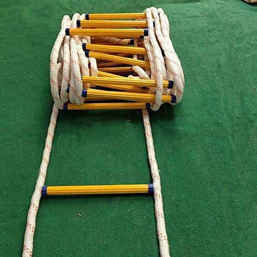 DGSD Feuerleiter Notfall Hänge Flucht Seil für Schlafsaal Kreuzfahrtschiff Feuerfeste Schnelle Bereitstellung Fluchtleiter mit Haken,25m(82')