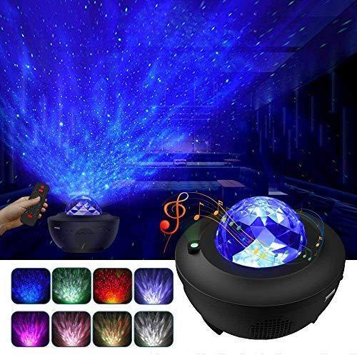 LBell ternenhimmel LED Projektor Sternenhimmel Lampe mit Fernbedienung Starry Stern Mond/Wasserwellen-Welleneffekt/Bluetooth Lautsprecher Perfekt für Party Weihnachten Ostern Halloween (schwarz)
